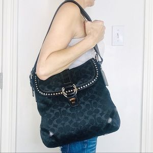 COACH Leather & Signature Lurex Studded Duffle Bag